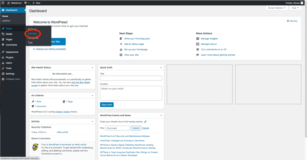 "An image of selecting ""Add New"", demonstrating the first step of how to make a post in WordPress"