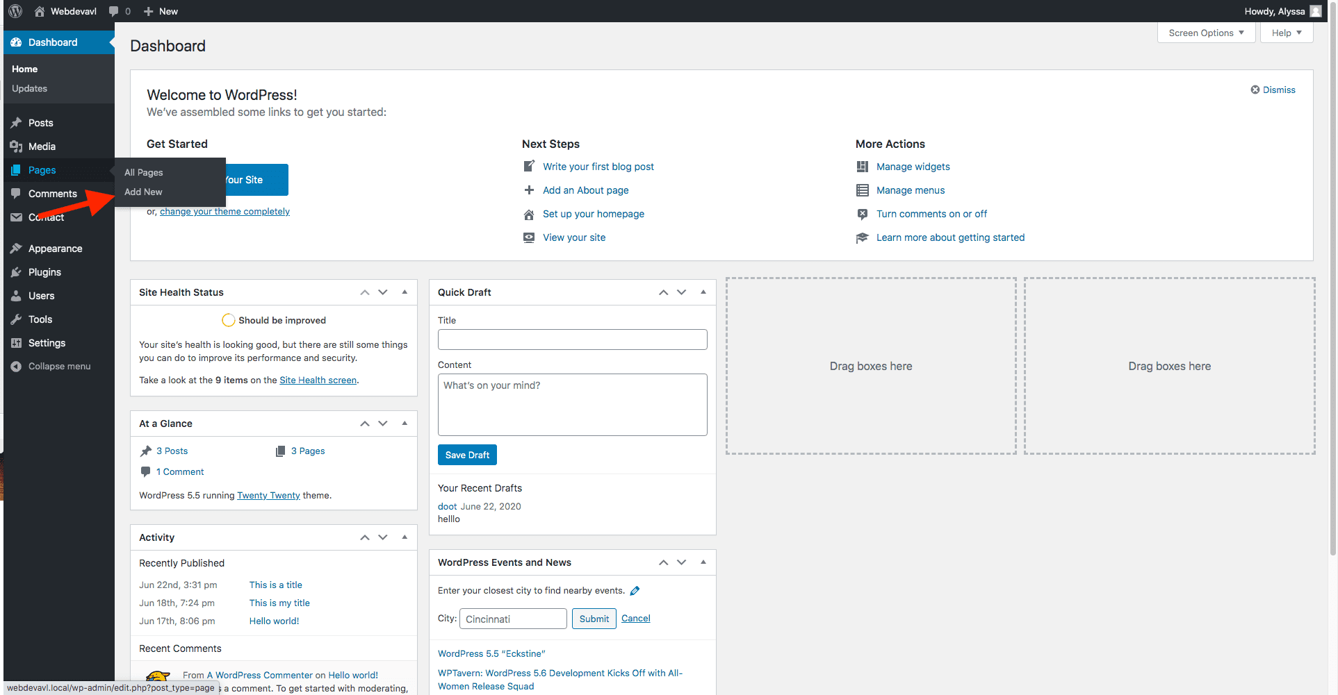 """This screenshot shows the location of the """"add new"""" sub-menu item nested under the """"pages"""" menu item on the WordPress admin dashboard."""