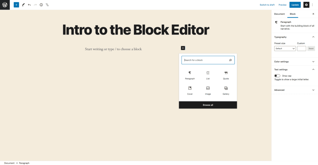 This image shows the condensed version of the Gutenberg block library which is revealed by clicking the plus button found on the righthand side of the block.
