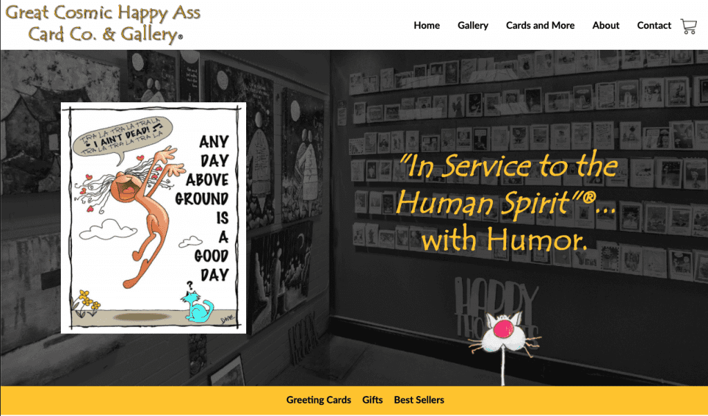 The landing page for the Great Cosmic Happy Ass Card Co. where Diane sells her cards, magnets, and more!