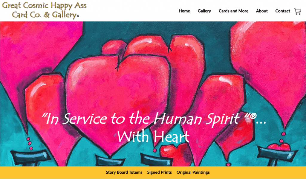 The landing page for the Great Cosmic Happy Ass Gallery where Diane sells her fine art.