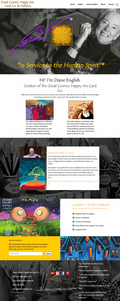 The newly redesigned homepage of The Great Cosmic Happy Ass Card Co. and Gallery.