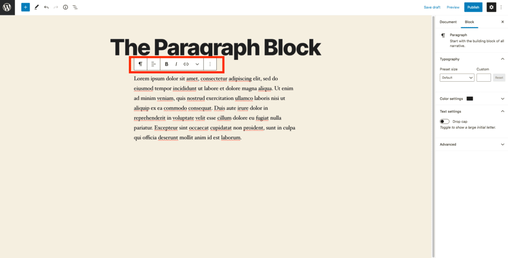This image shows an example of the paragraph block, with an emphasis on the toolbar which sits directly above the paragraph example and below the title.
