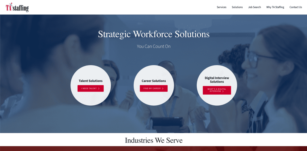 The old TA Staffing Homepage