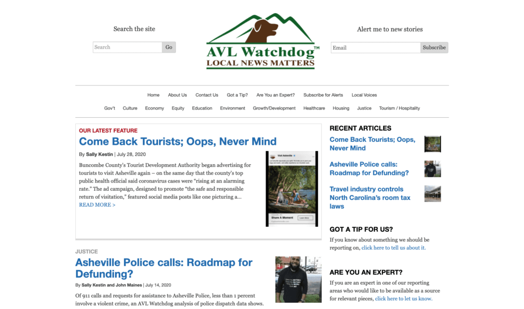 A screenshot of the Asheville Watchdog homepage. A site that we designed and developed.