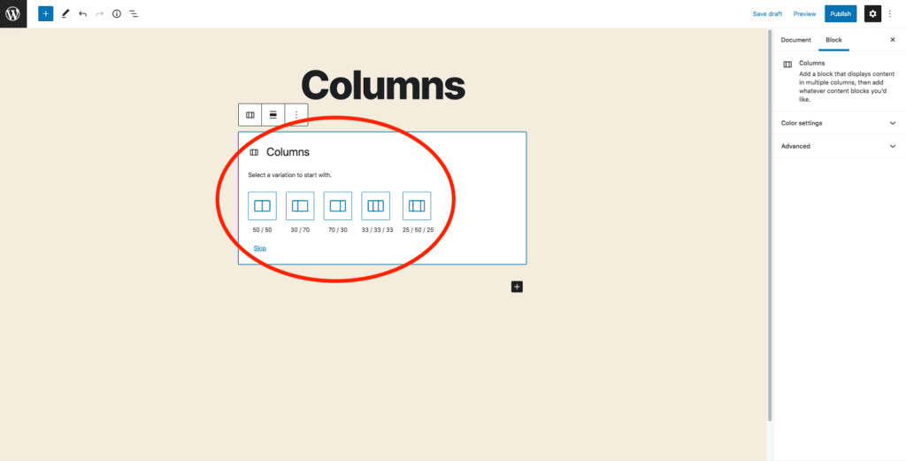 This image shows the different layout options for the Columns block, and is in the center of the screen below the title.