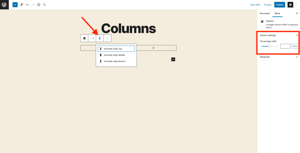This image shows how to change the alignment of your columns.