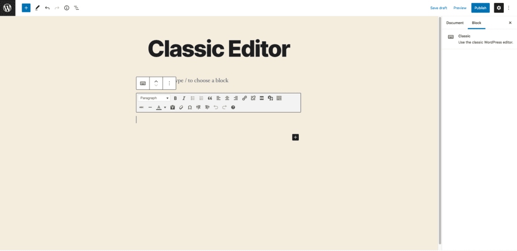 This image shows how the classic editor block appears when you add it to a page or post. The block contains a toolbar at the top with text formatting options and a text box for adding words and images.