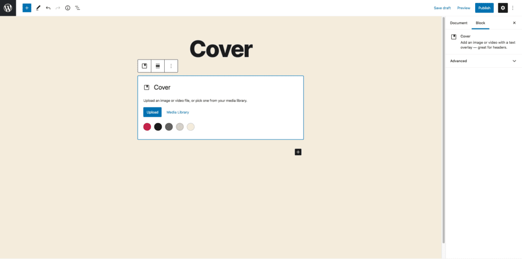 This image shows where to go in order to upload your cover image. It is in the upper center of the screen under the title.