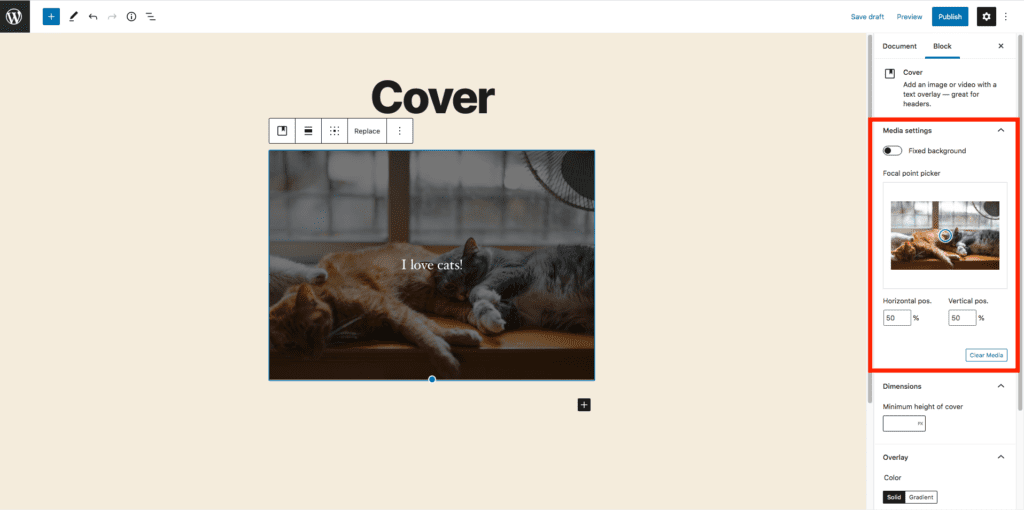 This image highlights where to go to change the media settings for your cover photo. This is on the right-hand side of the screen within the block settings menu in the center of the page.