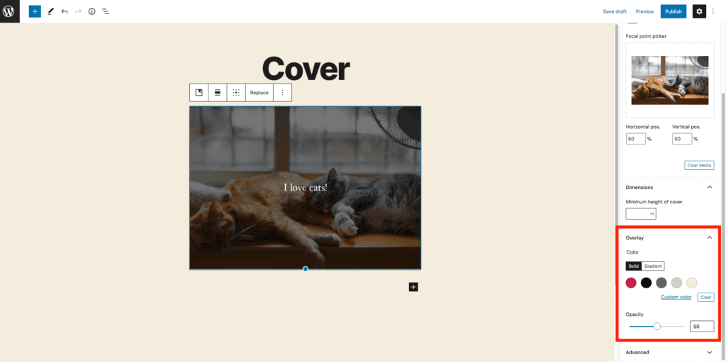 This image highlights where to change the color overlay of your cover photo and is in the lower right-hand side of your screen below the dimension settings.