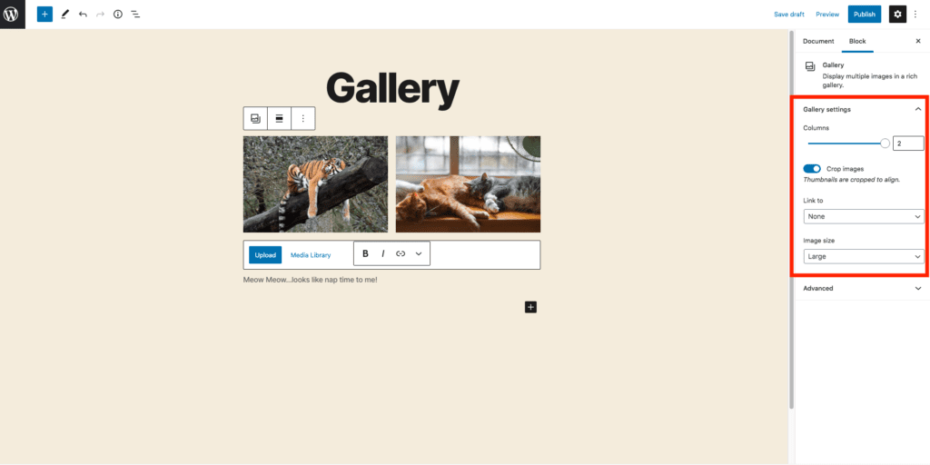This image highlights where to change the gallery settings, in the center right-hand side of the screen