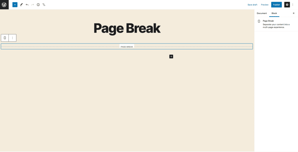 This image shows an example of a page break across the center of a page or post.