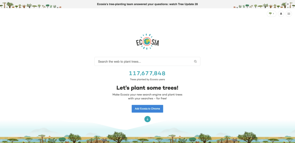 A screenshot of the Ecosia landing page, a search engine provider aiming to offset carbon emissions from search by planting trees.