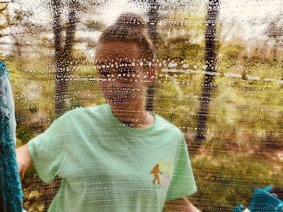 Picture of a woman cleaning window: Brevard